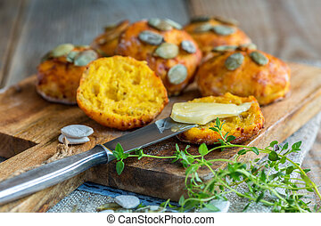 Pumpkin scones with thyme and butter for breakfast.