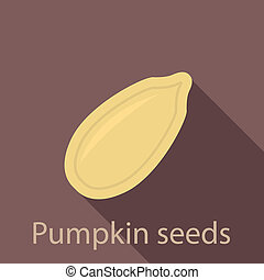 Pumpkin seed icon, flat style