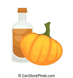 Pumpkin seed oil in bottle. Vector flat isolated icon
