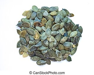 Pumpkin seeds isolated on a white background. Photography pumpkin seeds.
