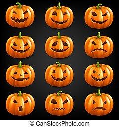 Pumpkin Set Isolated Black Background