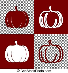 Pumpkin sign. Vector. Bordo and white icons and line icons on chess board with transparent background.