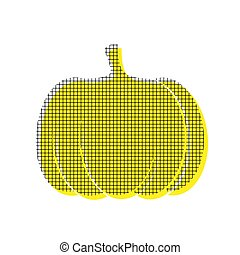 Pumpkin sign. Vector. Yellow icon with square pattern duplicate