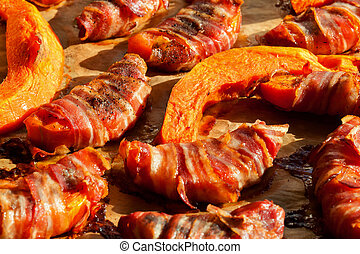 Pumpkin slices wrapped in bacon and baked