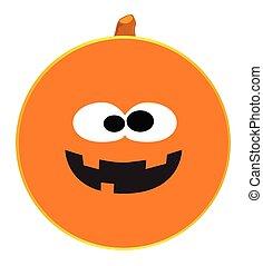 Pumpkin Smiley Face Button Isolated