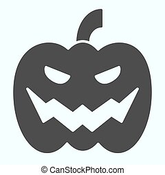 Pumpkin solid icon. Big scary face in vegatable product for party celebration. Halloween vector design concept, glyph style pictogram on white background, use for web and app. Eps 10.