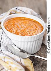 Pumpkin souffle - Just baked pumpkin souffle in white bowl...