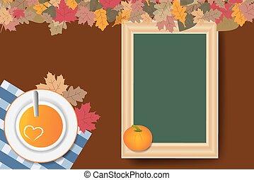 Pumpkin soup and empty chalkboard