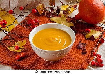 Pumpkin soup. Autumn still-life.