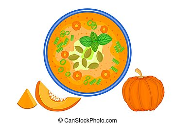 Pumpkin soup isolated on white background.