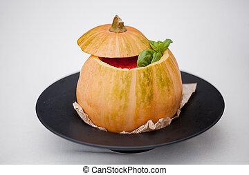 pumpkin soup served