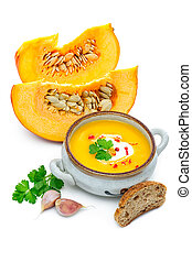 Pumpkin soup with fresh pumpkins