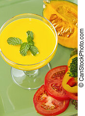 Pumpkin soup with fresh vegetable