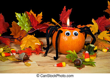 pumpkin spider candle - Halloween pumpkin spider candle with...