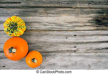 Pumpkin squash over wood plank back