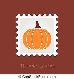 Pumpkin stamp, Harvest Thanksgiving vector