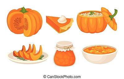 Pumpkin Sweet Dishes Vector Set. Homemade Autumn Desserts Collection