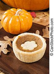 Pumpkin Tart with Fall  Leaves