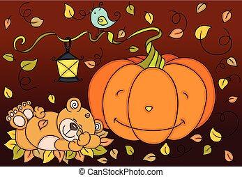 Pumpkin teddy bear autumn background