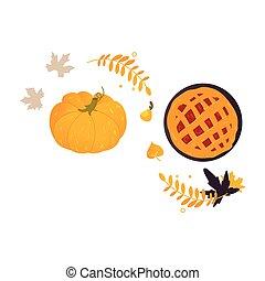 Pumpkin, Thanksgiving pie and fall, autumn leaves