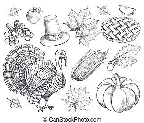 Pumpkin Thanksgiving Symbols Sketches Set Vector
