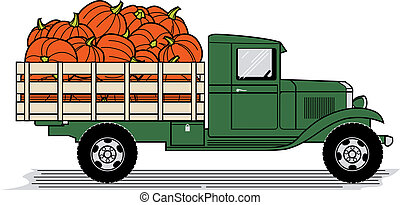 A vintage style truck loaded with pumpkins