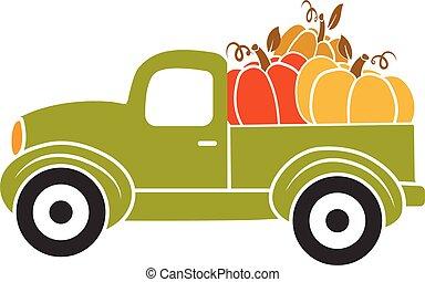 Pumpkin truck. Green truck with autumn pumpkin