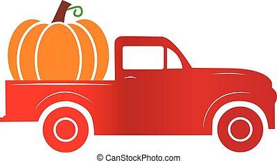 pumpkin truck sign. old red farm truck with pumpkin.