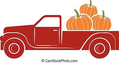 pumpkin truck vector illustration (fall design)