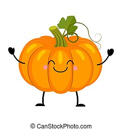 Pumpkin vector illustration in flat style isolated on white ba
