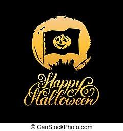 Pumpkin vector illustration with Happy Halloween lettering. All Saints Eve background. Festive label, card etc design.
