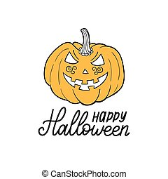 Pumpkin vector illustration with Happy Halloween lettering for party invitation card, poster. All Saints Eve background