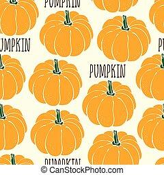 Pumpkin vector seamless pattern
