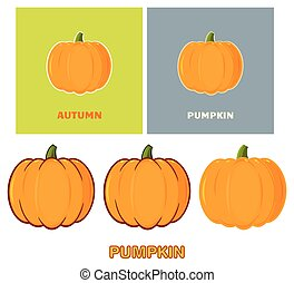 Pumpkin Vegetables Cartoon Design Style. Vector Collection
