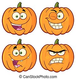 Pumpkin Vegetables Cartoon Emoji Face Character Set 1. Vector Collection