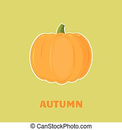 Pumpkin Vegetables Cartoon Flat Design Style