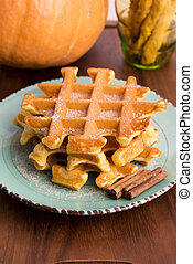 pumpkin waffles with cinnamon sugar
