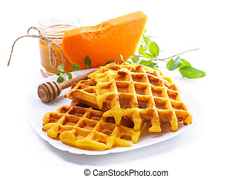 pumpkin waffles with honey