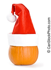 Pumpkin Wearing a Santa Hat