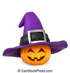 Pumpkin Witch - 3D Illustration of a Pumpkin Wearing a Witch...