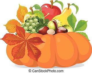 pumpkin with autumn leaves - vector