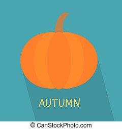 pumpkin with autumn word concept- vector illustration