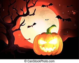 pumpkin with bats flying in halloween scene