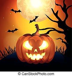 pumpkin with bats flying in scene halloween