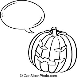 pumpkin with bubble speech