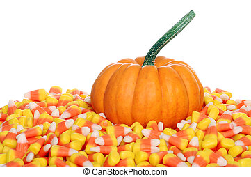 pumpkin with candy corn