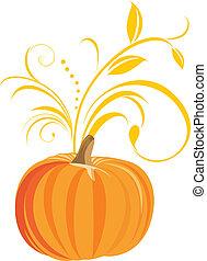 Pumpkin with decorative sprig. Vector illustration