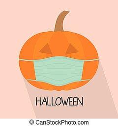 pumpkin with face mask, halloween celebration during coronavirus pandemic, protective measures- vector illustration
