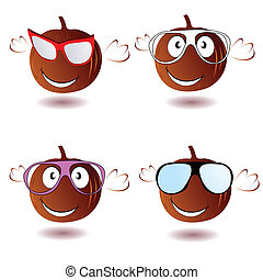 pumpkin with glasses vector illustration