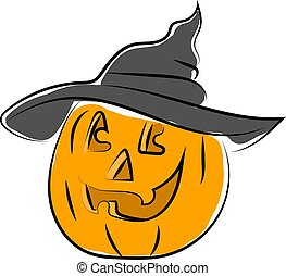 Pumpkin with halloween hat, illustration, vector on white background.